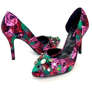 BETSEY JOHNSON Jeweled Rose Print Green Heels